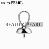 Barato Pingente De Atacado 925-10 Pieces Wholesale Pendant Bail 7mm Cup com Peg 925 Sterling Silver Findings Pingentes Bead Caps Pearl Bail