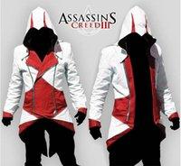 Wholesale Connor Kenway Costume - Wholesale-Assassins Creed 3 III Conner Kenway Hoodies Jacket Aassassins Creed Costume Connor Cosplay Novelty Sweatshirt Hoody Coat Jackets