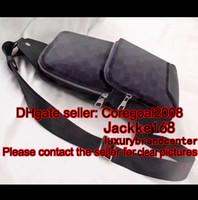 Wholesale mens travel black bag - black plaid AV. SLING BAG D.GRAP. N41719 travel bag MENS cross body breast shoulder pouch N41612 N41473 41473 N41712 AVENUE N41056 N41720
