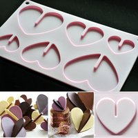 Wholesale Sweet Silicone Cup - New 3D Heart Shape Chocolate Silicone Mold Bakeware 6 Cups Cookie Ice Cream Sweet Cake Tools DIY Bakeware Accessories ZA3222