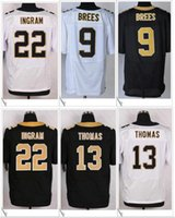 Wholesale Michael Shirts - #9 Drew Brees 13 Michael Thomas 22 Mark Ingram Jr. New Orleans American College Football Stitched Shirts Embroidery Elite Mens Sport Jerseys