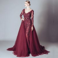 Wholesale Detachable Beaded Cap Sleeves - Elie Saab Burgundy Evening Dresses with Detachable Train V-neck Long Sleeve Beaded Appliques Lace Formal Dress For Prom Party Gowns