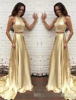 Wholesale Fabulous Evening Gowns - High Neck 2018 Two Pieces Prom Dresses Gold Sparkly Keyhole Back 2017 Fabulous golden shining Formal Prom dresses evening gowns formal