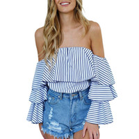 Wholesale Plus Size Ruffled Blouse - Women Sexy Off-shoulder Slash Neck Striped Blouse Tops Fashion Ruffled Shirts Tops Plus Size
