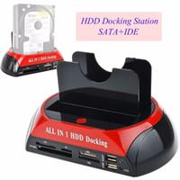3,5 inç hdd sata toptan satış-Toptan Satış - Çok Fonksiyonlu HDD Yerleştirme İstasyonu Çift USB 2.0 2,5 / 3.5 inç IDE SATA Harici HDD Kutusu Sabit Disk Sürücüsü Muhafaza Kartı Okuyucu