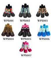 mascotas al aire libre zapatos para perros al por mayor-4 Unids / set Alta Calidad Para Mascotas Botas de Nieve Calcetines de Algodón Perro Grande y Pequeño Impermeable Zapatos de Lluvia antideslizantes Cachorros de Goma Al Aire Libre