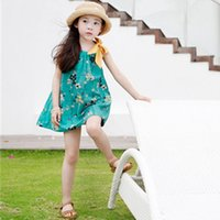 Wholesale Bowknot Dress Green For Girls - Sweet Big Girls Dresses Bowknot Floral Dresses For Girl Children Clothing Dress Vest Flowers Printed Sundress Green Party Dress A6843
