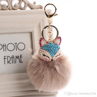 Wholesale Animal Fox Fur - 17 Colors Fur Pompom Car Keychain Fox Fur Ball with Artificial Fox Inlay Pearl Rhinestone Key Chain Cool gifts Key Women
