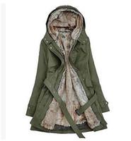 kürk kaplı parka ceket bayanlar toptan satış-Sıcak! Sahte Kürk Astar kadın Kürk Hoodies Bayanlar palto kış sıcak uzun ceket ceket pamuklu giysiler termal parkas artı