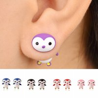 Wholesale Cute Penguin Cartoons - 9Pairs Fashion Jewelry Handmade Alloy Polymer Cartoon 3D Penguin Stud Earrings For Women Girls Cute Ear Studs brincos bijoux 9 Colors
