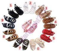 Wholesale Soft Barefoot Baby Sandals - Pu Leather Baby Lace Sandals Shoes Infant Soft Rubber Sole Kids Boys Girls Newborn Toddler Boys Girls Prewalker Barefoot Footwear New