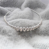Wholesale Best Selling Kids Accessories - Best Selling Sparking One Row Rhinestone Clear Crystal Tiara Headband for Wedding Party Hair Accessories Bridal Jewelry for kids gift