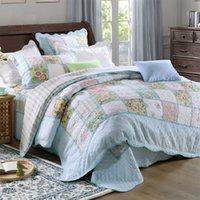 Wholesale Korean Bedspreads - CHAUSUB Washed Cotton Patchwork Quilt Set 4PCS Korean Quilts Bedspread Bed Cover Duvet Cover Shams Quilted Bedding Set Coverlet