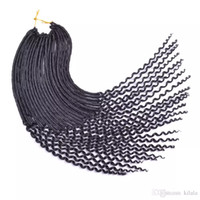 Wholesale Kinky Curly Braiding Weave - Crochet Kanekalon Fiber Kinky Dreadlocks hair Afro Fashion Synthetic Crochet Braiding Hair Curly Faux Locs Weaving 24roots lot 20 inch