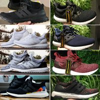 Wholesale unisex shoes sizes - [Double Box] 2018 Ultra 3.0 Top Quality Continental Running Shoes Sports Triple ALL Black White Oreo Primeknit Women Men Sneakers Size 36-46