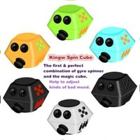 New 10Functions Spinning Magic Fidget Cube 2 in 1 Gyro Spinner combinato con Magic Cube Allevia lo stress e l'ansia