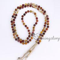 Wholesale Tibetan Buddhist Pendants - 108 buddhist tibetan prayer beads necklace mantra meditation beads mala bead necklace with tassel yoga healing spiritual jewelry wholesale