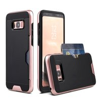 Wholesale iphone 5s holster cases for sale - Group buy For iPhone X s s G Plus Credit Card Slot Holder Tpu Pc Hybrid Shockproof Heavy Duty Protective Holster Phone Case Opp Bag