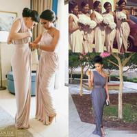 Wholesale Bridesmaid Dresses Pale Blue - Pale Pink One Shoulder Bridesmaid Dresses 2017 Modest Front Split Pleats Floor Length Wedding Guest Gown For Garden Wedding Party Prom Dress