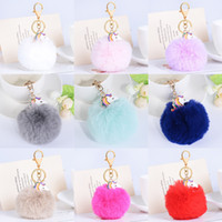 Wholesale Zinc Alloy Pendants Rose Gold - Hot Sale Monocerus Unicorn Fur Fluffy Ball Toys Pendants Metal Keychain Keyring Car Key Chains Handbag Charms Kid's Women's Gift