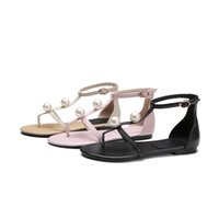 Wholesale Leather C String - Women's Summer Sandals Flat Shoes String Bead Bohemia Leisure Lady Sandals Peep-Toe Outdoor Shoes