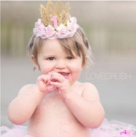 Wholesale Kids Hair Style Crown - european style children hair accessories baby girl crown birthday hat lace headband kids lace flower hair bands