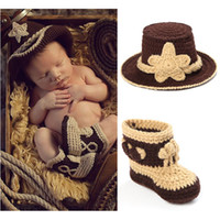 Wholesale Baby Cowboys Boots - Crochet Baby Cowboy Hat and Boots Set in Brown Newborn Boy Photo Props Handmade Knitted Baby Hat and Booties Baby Hat BP032