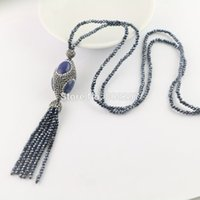 Wholesale Lapis Pendant Gold Filled - New Style 4Pcs Pave Rhinestone Lapis lazuli Beads , Crystal Tassels Chains Charms Necklaces Pendants Jewelry Gift