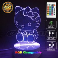 Wholesale Kids Cartoon Tables - Hello Kitty 3D Lamp Colorful Changing LED Night Light Touch Change Colors Decorative Table Lamp for Kids Bedroom Girl Gift