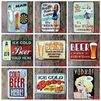 şarap tenekesi tabelası toptan satış-Retro Vintage Craft Kalay Retro Metal Boyama Poster Bar Pub Wall Art Sticker Sign uyarı motosiklet kahve şarap motor yağı bira garaj