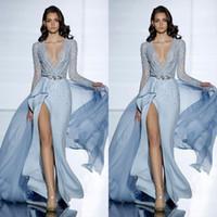 cristais de murmuração de zuhair venda por atacado-2017 ver através sexy zuhair murad sereia vestidos de noite com mangas compridas formais vestido de baile cristais azul alta dividida celebridade vestidos