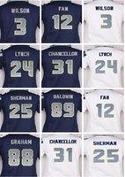 Wholesale Doug Baldwin - Womens Top quality jersey 3 Russell Wilson 12 Fan 25 Richard Sherman 89 Doug Baldwin 24 LYNCH white blue cheap Stitched jersey