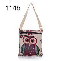 Wholesale Owl Print Handbags - ot Sale Cartoon Owl Print Messenger Bags Canvas Female Shoulder Bags Double Zipper Women Mini Flap Shoulder Handbags