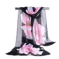 Wholesale Wholesale White Chiffon Silk Scarves - Woman Scarf Silk Brand Luxury Print Flower Polyester Ladies Chiffon Scrawl Flower Printed Wrap Scarf