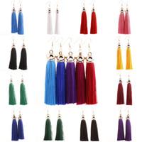 Wholesale Silk Jewellery - Retro Party Long Silk Tassel Earrings 13 Style Silver Plated Fringed Dangle Earring Hook Eardrop For Women Jewellery Gifts B703L