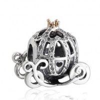 ingrosso branelli dei monili del rhinestone-Autentico 925 Sterling Silver Cinderella Pumpkin Branelli di fascino placcato oro di cristallo con strass perline di zucca adatto pandora bracciali gioielli fai da te