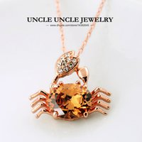 Wholesale Rhinestone Crab - Lovely Lucky Small Crab Pendant Rose Gold Color Champagne Austrian Crysrtal Woman Pendant Necklace Wholesale