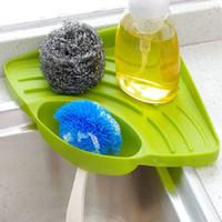 ingrosso supporto porta piatto da sapone-Kitchen Sink Corner Storage Rack Sponge Holder a parete Piatti a goccia cremagliera Bagno Portasapone a parete Rack di stoccaggio