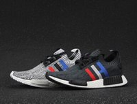 Wholesale Classic Shoes Online - 2017 high quality NMD Runner R1 Primeknit PK Tri-Color Red white blue Men Women Running Shoes Classic sports Sneakers Shoes Eur 36-44 online