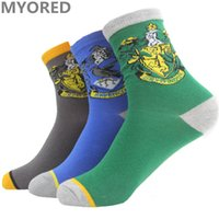 Wholesale Girls Badges - MYORED 3 colors gryffindor Harry Potter children Socks Cosplay Costume Socks School Striped Badge crew cotton boy girls sock