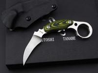 japão faca de caça venda por atacado-Japão Kazutoshi Tanabe Verde Fantasma Karambit D2 60HRC Camping Tático Sobrevivência de Caça Bolso Utilitário Militar EDC Presente Faca Man Coleção