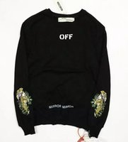 Wholesale Double Hoodie Woman - Off white vlone Double side zipper sleeves embroidered tiger tiger round neck hoodies Justin Bieber Kanye West bf suprem sweatshirt