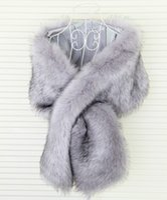 Wholesale faux fur bridal wrap pink for sale - Group buy 2020 Winter Wedding Coat Bridal Wraps Faux Fur Warm Stick shawls Outerwear Black Gary Pink Shrug Bridesmaid Christmas Party Prom Evening