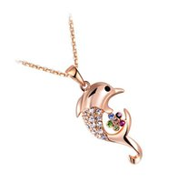 Wholesale Dolphin Design Jewelry - Angel Necklaces for Women Pendant Necklace Rose Gold Crystal Dolphin Design Pendant Charm Wholesale Fashion Jewelry Accessories 2030526118