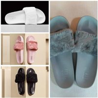 Wholesale Warm House Slippers Women - Rihanna Fur Leadcat Fenty Slides Slippers Women Men House Winter Slipper Home Shoes Woman Warm Slippers zapatillas de casa womens sandals