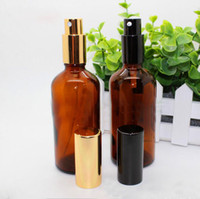 Wholesale Glass Bottle Pump Packaging - High Quality 280pcs lot Empty 100ML Amber Refillable Glass Spray Bottle Essential Oil Bottles For Perfume Cosmetic Packaging