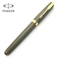 caja de bolígrafo parker al por mayor-Nuevo Parker 18K Sonnet Series 08 stylo Gris rejilla Plumas de escritura Suministros para bolígrafos de tinta con estuche para bolígrafos de regalo y una punta adicional