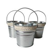 Wholesale Galvanized Buckets Wedding - D10.5*H9.5CM Silvery Color Metal Plant galvanized Flower Pot Hook Planter Hanging Wedding Tub Silvery Wedding bucket