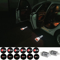 Wholesale Door Light Projector Audi - 2pcs set Door LED Ghost Welcome Light Projector Puddle Laser Light For Audi A3 A4 A5 A6 TT Q5 Q7 TTS Sline RS S3 S4 S5 RS3 Logo