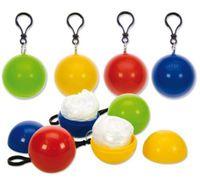 Wholesale Children Rainwear - Spherical Raincoat Plastic Ball Key Chain Disposable Portable Raincoats Rain Covers Travel Tour Trip Rain Coat 60pcs OOA2127